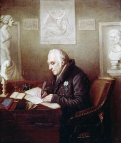Wilhelm v. Humboldt in seinem Arbeitszimmer im Schloss Tegel, um 1830, bpk