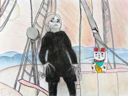 Patrycia, Selbstporträt als Nosferatu, Mischtechnik auf Aquarellpapier, 65 x 50 cm, 2018, Fotografie Karen Scheper, VG Bild-Kunst 2018