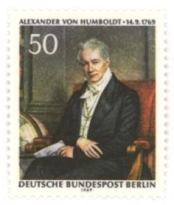 Briefmarke zum 200. Geburtstag A. v. Humboldts, Deutsche Bundespost Berlin, 1969