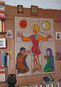 Kreuzigungsdarstellung. Eine Textilarbeit von Wladimir Lindenberg aus seinem Nachlass